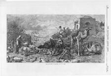 """1870 FINE ART """"THE RAIN CLOUD IN PALESTINE"""" by W J WEBB Camels Bull (033)"""
