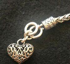 Puff Heart Filigree Silver Antiqued Bracelet