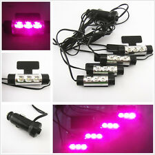 4 Pcs LED Auto Accessory Glow Decoration Atmosphere Purple Pink Lights For Ford