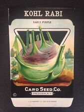 1930-40s Litho Antique Vintage Seed Packet Kohl Rabi Card Seed Co. Pack Mint