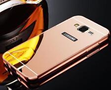 De Lujo Aluminio Metal Parachoques ESPEJO Espalda Funda para Samsung Galaxy
