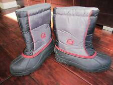 Sorel Black Red Winter Boots Youth Snow Command Caribou Rubber Waterproof Mens 6