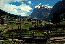 Grindelwald Kanton Bern Color Postkarte 1964 Panorama Bergbahn mit Wetterhorn