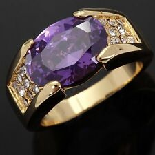 Size 8 Jewelry Wedding Rings Men AAA Fashion Amethyst Halo 10KT Gold Filled Band