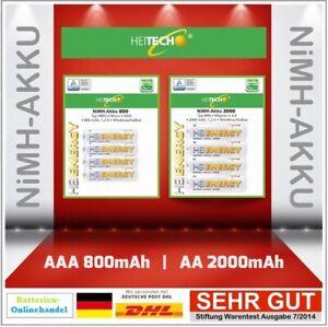 HEITECH NiMH Akku 2000mAh AA Mignon HR6 l 800mAh AAA Micro HR03 AUSWAHL !!!