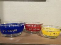 Glass Set 3 Vintage Anchor Hocking Measuring Striped Mixing Bowl Blue Red Yellow