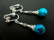 Un par de Azul Turquesa, Perla De Vidrio Colgantes Clip en pendientes. Nuevo.