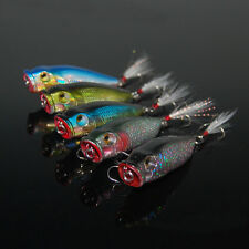 5PCS Lures Feather hook floating Popper Crank Twitchaits 10g/7cm fishing lure