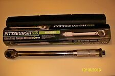 "**NEW** PITTSBURGH PRO 3/8"" DRIVE CLICK TYPE TORQUE WRENCH WITH HARD CASE"
