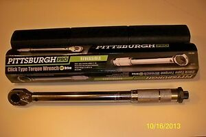 """**NEW** PITTSBURGH PRO 3/8"""" DRIVE CLICK TYPE TORQUE WRENCH WITH HARD CASE"""