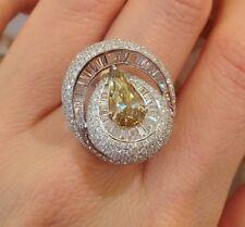 1.62 ct Cognac Pear Shape Diamond in Ballerina Mounting 18K White Gold -HM1349