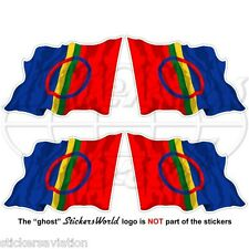 SAMI PEOPLE Flying Flag Saami Lapps, SAPMI Lapland 50mm Vinyl Stickers Decals x4