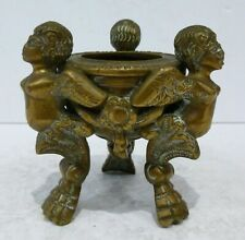 Antique Bronze Inkwell Harpy Eagle Bird Angel Urn Bowl Figure Sculpture Brass