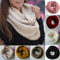 Women Winter Warm Knitted Scarf Fashion Thicken Solid Color Neck Warp Scarves