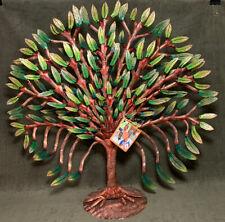 Rare Handmade Painted Tree of Life Metal Sculpture Art Haiti Artist Signed