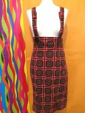 SOLD OUT Rare Cyberdog CYBER Futuristic Dungaree Dress Red/Black Fitted Tartan M