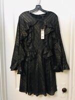 BCBG MAX AZRIA RUFFLED FIT & FLARE LONG SLEEVE LUREX DRESS NWT SIZE M $348.00