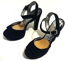 342aa1a87a89 Brash Women s Shoes Size 7 Black Suede Platform Ankle Strap Heels