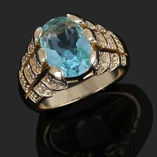 Halo Jewelry Size 8 Sapphire 10K Gold Filled Anniversary Ring For Man Fashion
