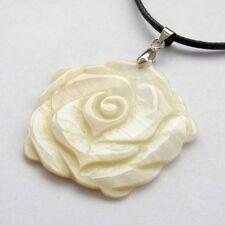 Natural Sea Shell Rose Flower Pendant