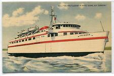 Mv Chinook Boat Ship Puget Sound Washington linen postcard