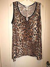 Lovely Leopard Print Stretcy Slinky Sleeveless Top Fishtail Black Trim XL 1X NWT