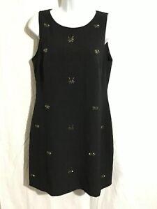 RED Saks Fifth Avenue Classic Black Dress Beaded Rhinestone Bugs Womens Size 8