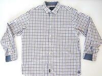 GAZMAN Mens Shirt Size L 100% Cotton Long Sleeve Check Business Shirt EUC