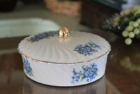 Holley Ross Distinguished China Gold Trimmed Covered Dish with Blue Floral