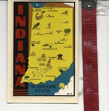 Vintage travel water decal Indiana the Hoosier State FREE SHIPPING