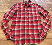 THE NORTH FACE Slim Red Blue Plaid l/s Button Up Blouse Shirt Top womens Small