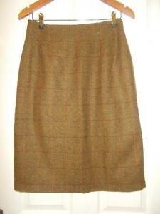 Nightingales Tweed Wool Straight Pencil Skirt 10 Brown Land Girls Retro Checked
