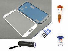 Vetro Anteriore Per Samsung Galaxy s4 BIANCO VETRO DISPLAY TOUCH SCREEN LOCA UV 5ml Set