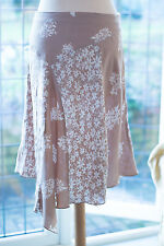 H&M, size 14 soft beige and white paneled handkerchief style floral skirt GC