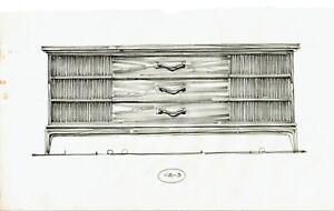 Original Mid Century Furniture Design Sketch Dresser Leonard Eisen Pulaski 1960s