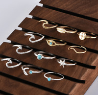 12pcs/Set  Silver Gold Boho Stack Plain Above Knuckle Ring Midi Finger Rings Set