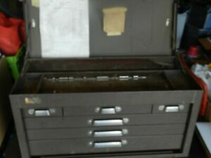"""Vtge Table Top """"KENNEDY KIT"""" # 260 Machinist Toolbox Steel 6 Drawer Flip Front"""