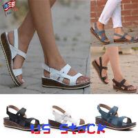 Women's Ankle Strap Sandals Casual Peep Toe Wedges Hook & Loop Vintage Shoes US