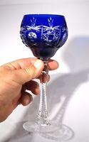Stunning Bohemian Vintage Blue Crystal Wine Hock