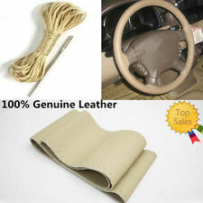 Beige Genuine Leather Breathable Non Slip Car Steering Wheel Cover Needle Thread