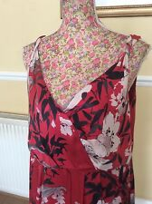 Monsoon ReD Silk Floral Dress Size 18 Ec Holiday Posting Daily Rare Hols 11/9