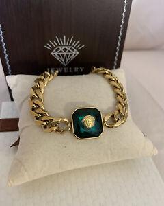 Classic Green Crystal Greek Medusa Cuban Links Bracelet 18k Gold Filled