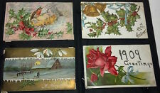 A set of 4 antique (100+yrs) Christmas Postcards. Postmarked