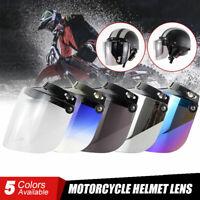 3-Snap Open Face 3/4 Motorcycle Helmet Flip Up PC Lens Shield Bubble Sun Visor