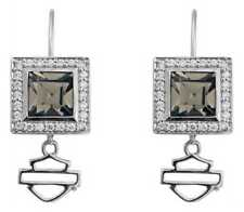 Harley-Davidson Womens Earrings, Black Ice Square Crystal Bling Earrings HDE0359