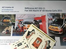 Decal Calca 1 43 FIAT 500 ABARTH N°69 Rally WRC monte carlo 2011 montecarlo