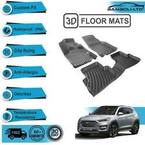 3D Molded Interior Car Floor Mat for Hyundai Tucson 2015-2020 (Black)