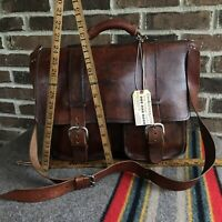 REEDERANG VINTAGE 1970s HANDMADE DISTRESSED LEATHER MACBOOK BRIEFCASE BAG R$998
