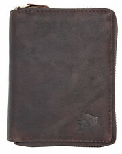 Men's zip-around natural oiled genuine leather wallet with a shark. Fast ship.