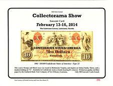 2014 Collectorama Souvenir Card (February) 1861 $10.00 Confederate T-22  L45